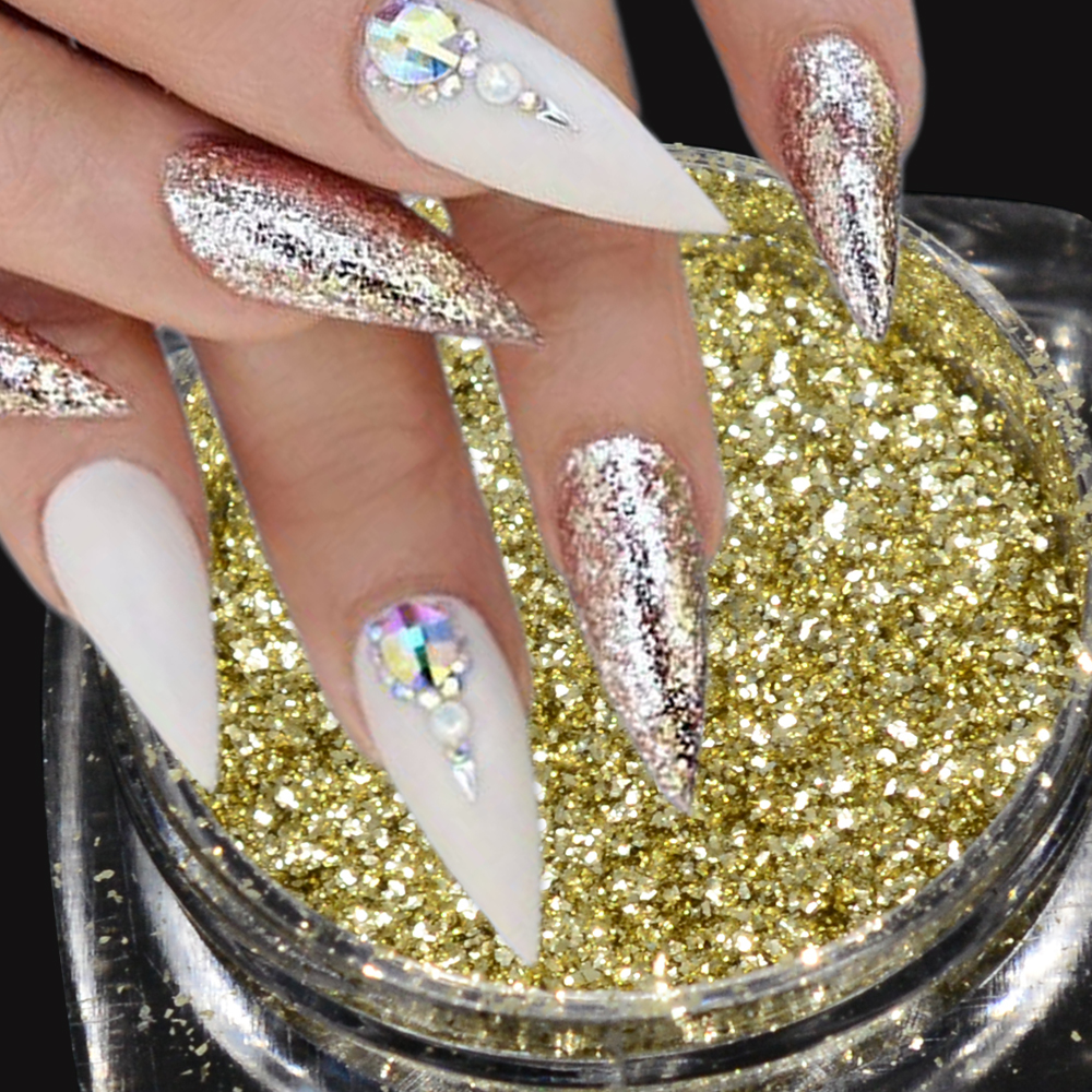 0 2g Mirror Glitter Gold Flakes Nail Sequins Diy Galaxy Bling Chameleon Art Powder Dust Decor Gel Tips Tr6cs07 In From Beauty
