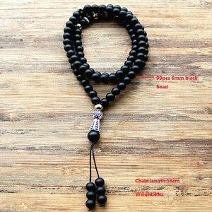 """Image 3 - 8 מ""""מ ו 6 מ""""מ חרוזים שחורים עם סגסוגת צורת קסם 99 חרוזים תפילה האסלאמי המוסלמי Tasbih אללה מוחמד מחרוזת לנשים גברים"""