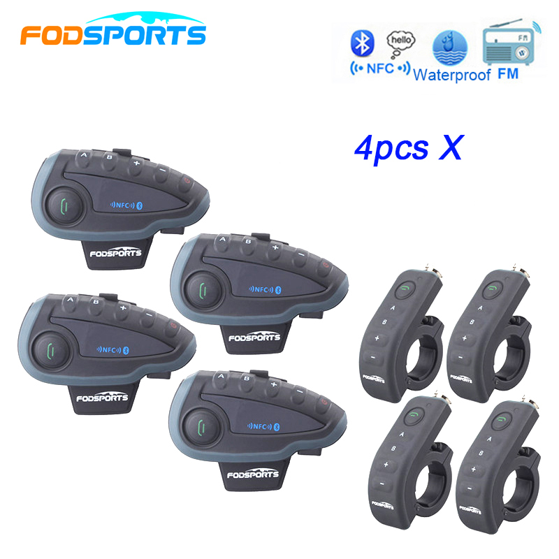Fodsports 4*V8 Motorcycle Helmet Headsets Bluetooth Intercom Wireless Interphone for 5 Riders with Handlebar Remote Control lexin 2pcs r6 1200m bt motorcycle wireless intercom helmet headsets for 6 riders intercomunicador bluetooth para motocicleta