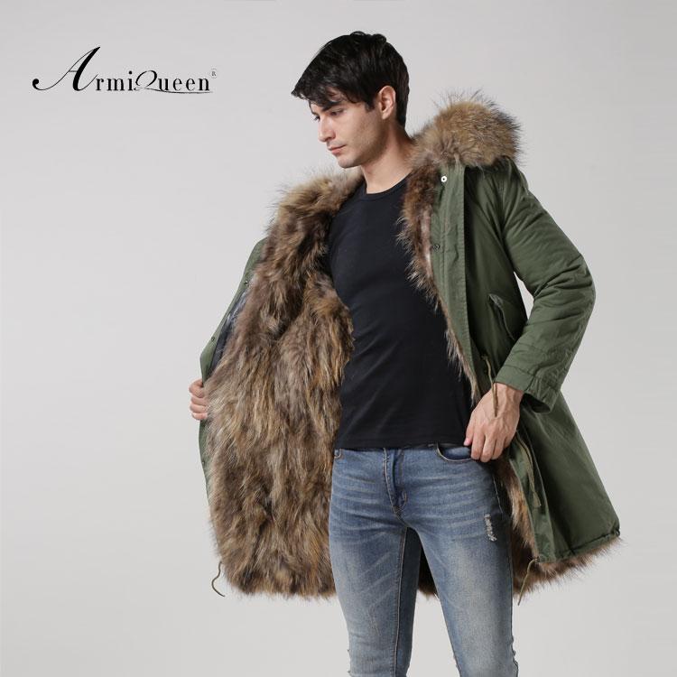 2016 Réel de fourrure de Renard Mâle chaud épais hiver Coupe-Vent manteau Vert Shell manteau raton laveur chien col de fourrure manteau