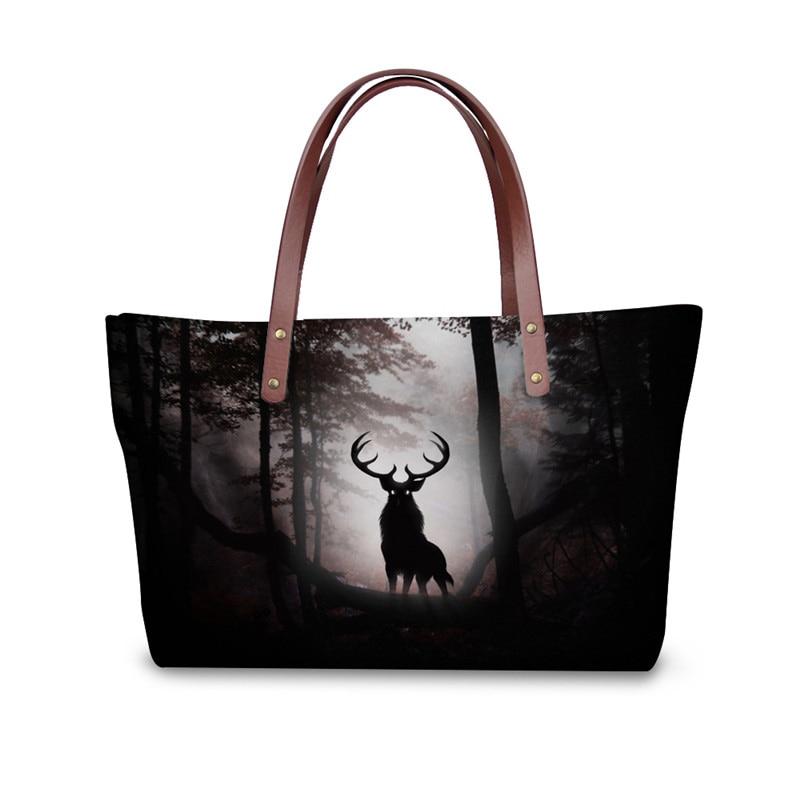 Big Capacity Handbags for Women Animal Elk Pattern Tote Cross Body Bag for Ladies Luxury Brand Messenger Bag Bolsas