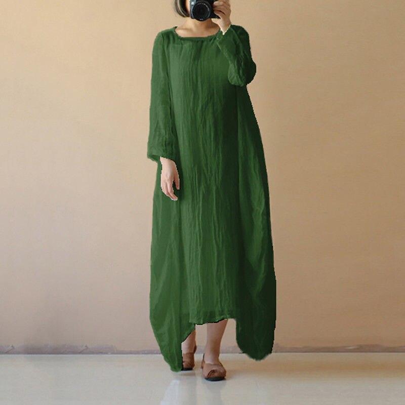 Women Cotton Linen Maxi Dress Long Sleeve Casual Boho Kaftan Basic Dress