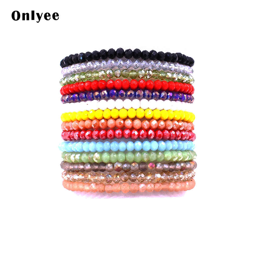 Onlyee Simple style crystal bracelet 14 colors optional beaded bracelets for women high quality crystal beads bracelet jewelry