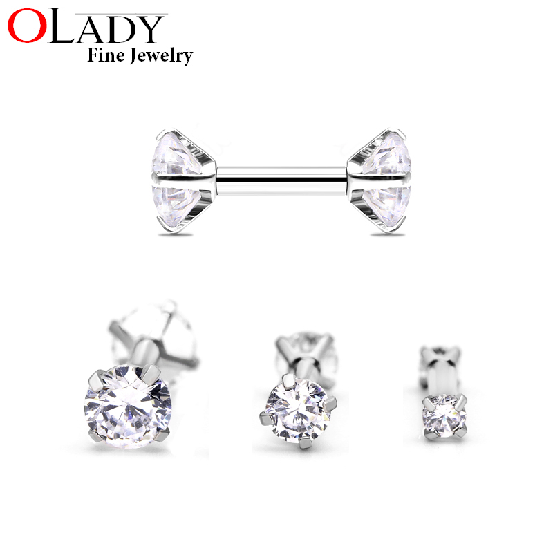 A Pair 16g 1.2*6MM Clear Shine Round Cubic Zirconia 316L Stainless Steel Internally Threaded Tragus Ear Piercing Body Jewelry
