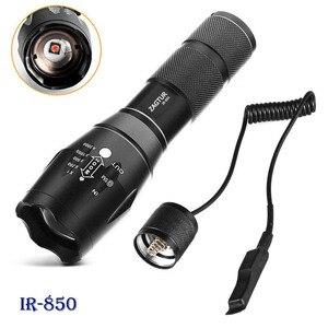 Image 1 - 적외선 IR 850 손전등 850nm IR LED 손전등 토치 카메라 채우기 빛 18650 손전등 전술 원격 제어 꼬리 스위치