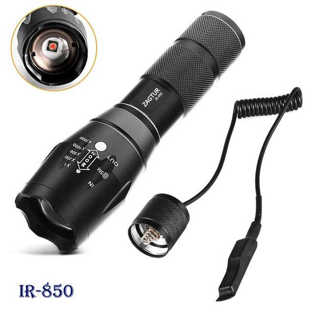 적외선 IR 850 손전등 850nm IR LED 손전등 토치 카메라 채우기 빛 18650 손전등 전술 원격 제어 꼬리 스위치