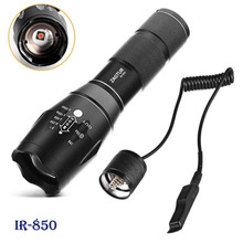 Infrarood IR 850 Zaklamp 850nm Ir Led Zaklamp Zaklamp Camera Fill Licht 18650 Zaklamp Tactische Afstandsbediening Staart Schakelaar