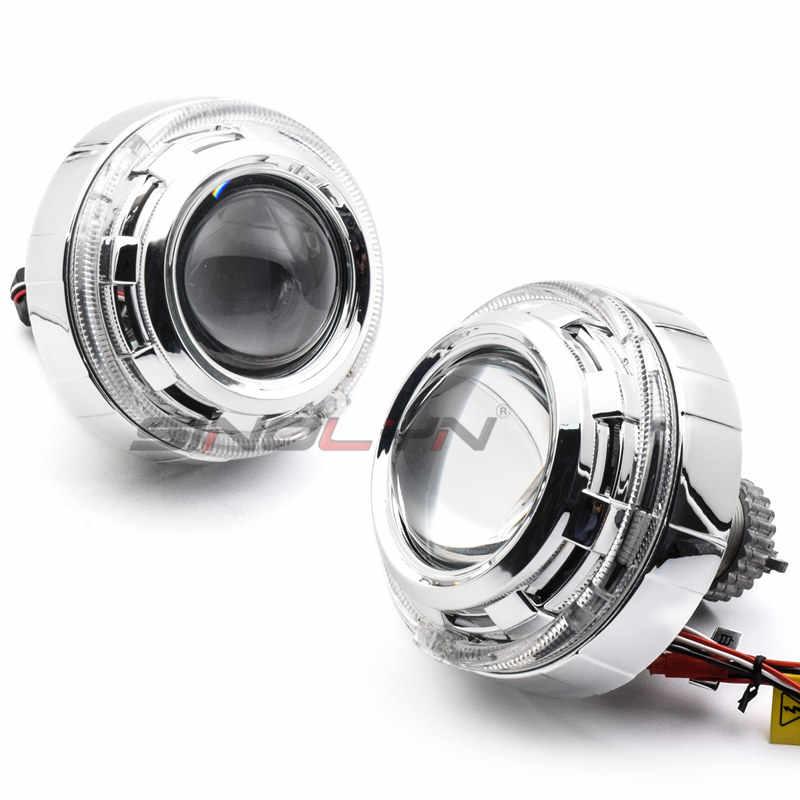 SINOLYN Estilo Do Carro Farol HID Bi xenon Lente Do Projetor 3.0 polegadas LED Angel Eyes DRL De Metal Farol Xenon Lentes LHD RHD D2S