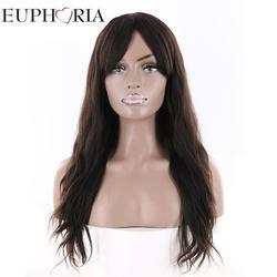 Естественная волна натуральные волосы парики с челкой средняя часть Эйфория бразильский длинные парики для Для женщин натуральный Цвет 100%