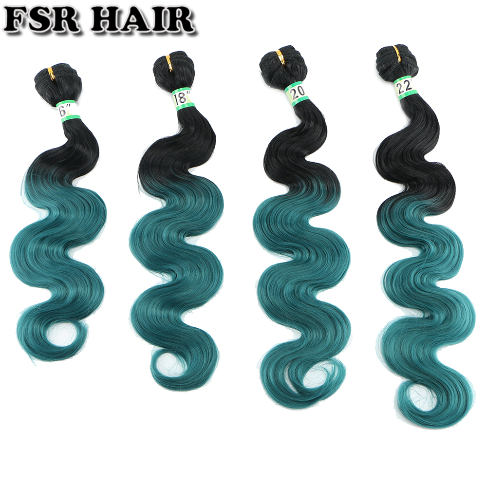 FSR Body Wave Black To Green Color Ombre hair bundles Synthetic hair Weave 16-22 Inch Available 3 bundles/Lot 210g hair Product
