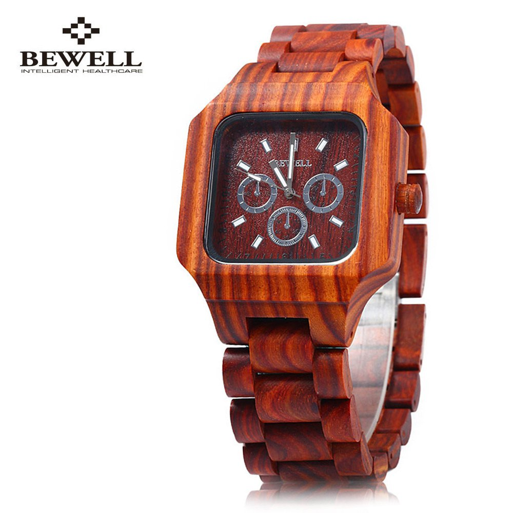 Bewell Men Wooden Watch Quartz Movement Fashion Red Sandalwood Man Wristwatch Three Small Dials for Decoration