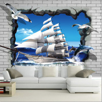 Custom 3D large murals,3d effect of broken wall, the sea sailing and gulls wallpapers,living room sofa TV wall bedroom wallpaper