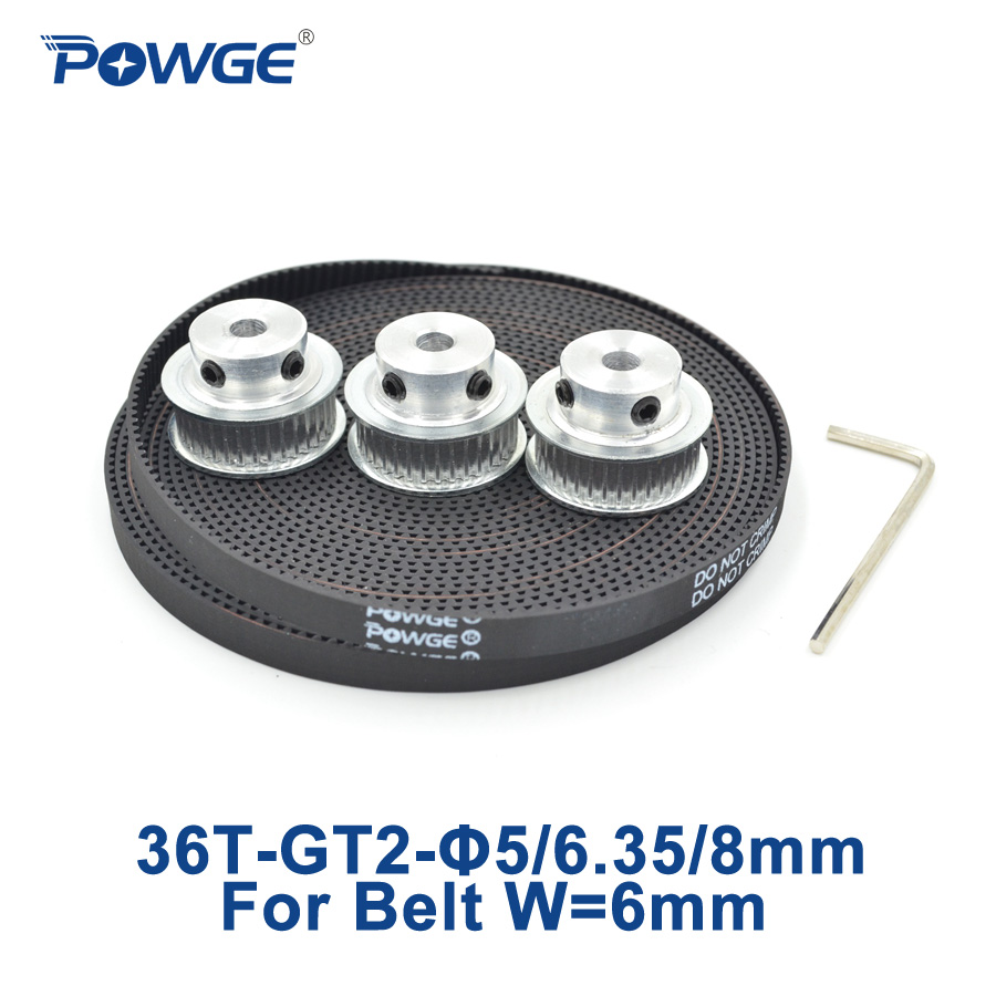 POWGE 3pcs 36 teeth <font><b>GT2</b></font> Timing Pulley Bore 5mm 6.35mm 8mm + 5Meters width 6mm <font><b>GT2</b></font> open Timing Belt 2GT Belt pulley 36Teeth <font><b>36T</b></font> image