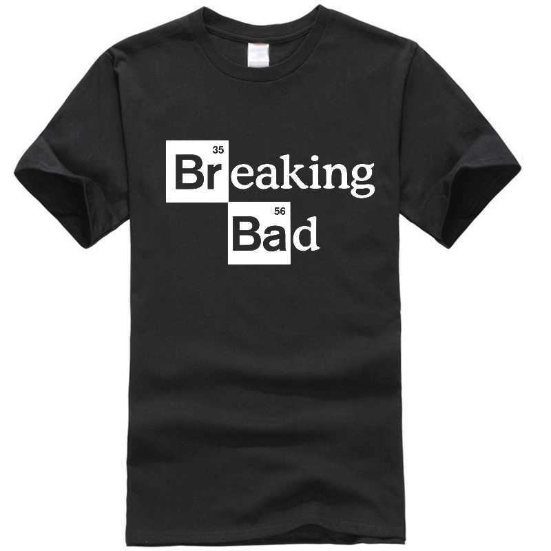 Uomo t-shirt Walter Bianco Magliette e camicette di Cotone O-Collo Uomini Heisenberg T-Shirt Manica Corta Casual Breaking Bad Stampa T Shirt Per uomini