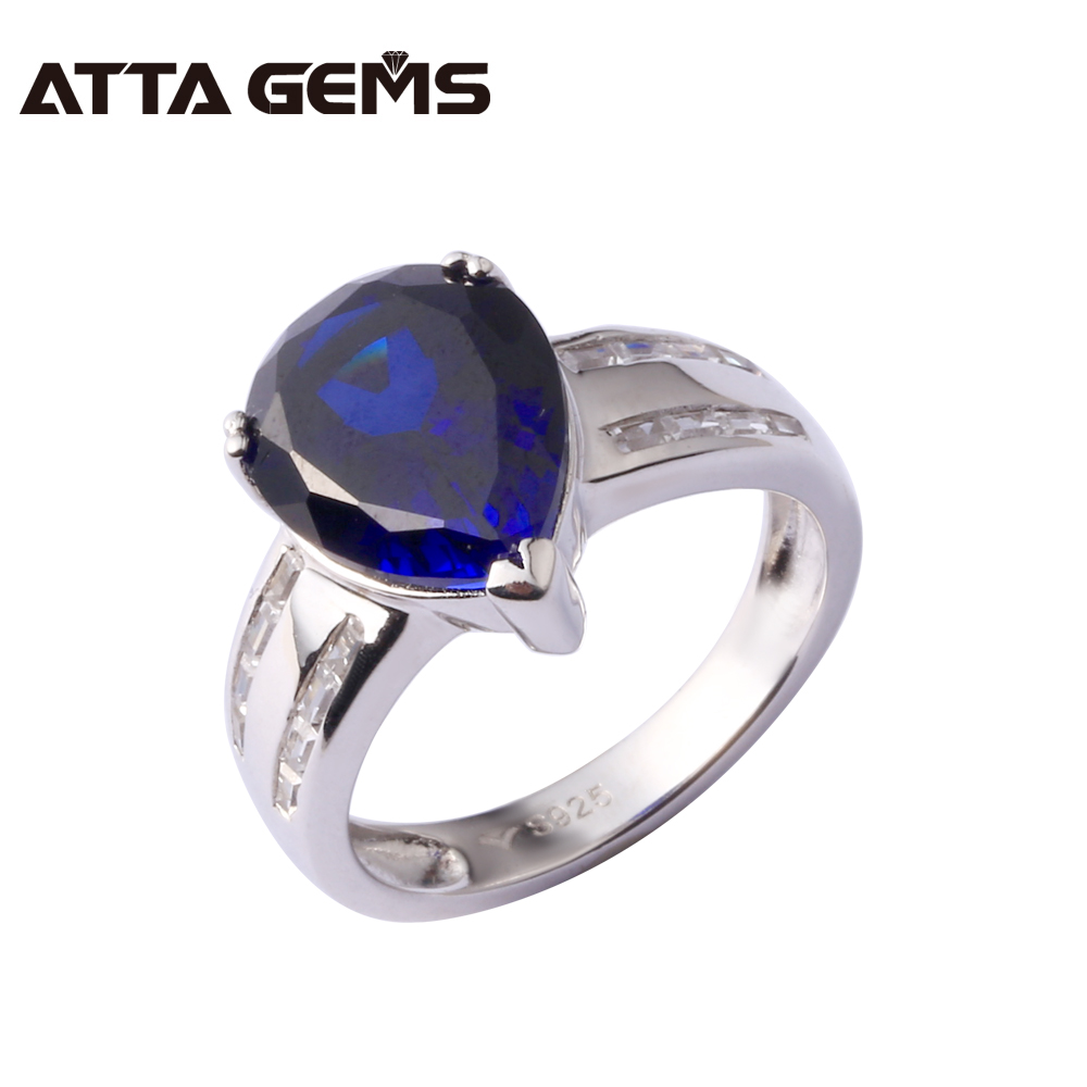 Blue Sapphire 925 Sterling Silver Ring For Women Wedding And Party 5.5 Carats Created Sapphire Silver Ring Royal Blue Sapphire delicate alloy faux sapphire geometric ring for women