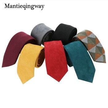 Mantieqingway 6 cm Ekskluzywny Zamszowe Męskie Wizytowym Biznes Krawat Neckwear Slim Cravats Biznes Klasycznych mężczyzna Paskiem Krawat Krawaty
