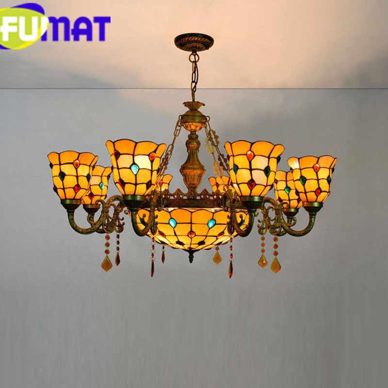 FUMAT フェニックスティファニー光沢シャンデリア照明 LED E27 キッチンステンドグラスシェード Hanglamp リビングルーム器具光