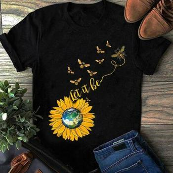 Sunflower Hippie Earth Let It Be Men's Black Cotton T Shirt S-3XL