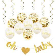 Baby Shower Decorations Neutral Decor Oh Strung Banner, 10PC Balloon Set (Gold, Confetti, White), 6 Gold Spiral Swirls Glit