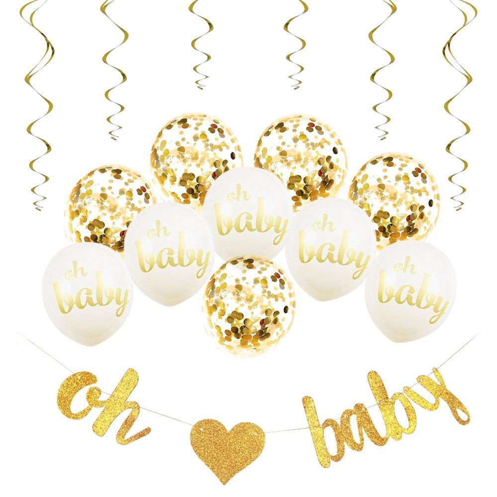 Baby Shower Decorations Neutral Decor Oh Baby Strung Banner, 10PC Balloon Set (Gold, Confetti, White), 6 Gold Spiral Swirls Glit