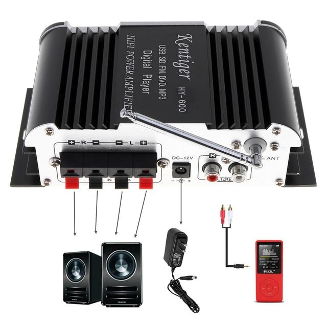 Special Price HY-600 2CH HI-FI Car Audio Power Amplifier FM Radio USB MP3 Stereo Digital Player Support U disk SD / MMC card
