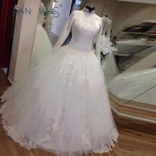 Kualitas Tinggi Lengan Panjang Beaded Shinning Muslim Wedding Dresses 2015 New Lace Appliques Putih Bridal Gown Arabic Hijab MWD05