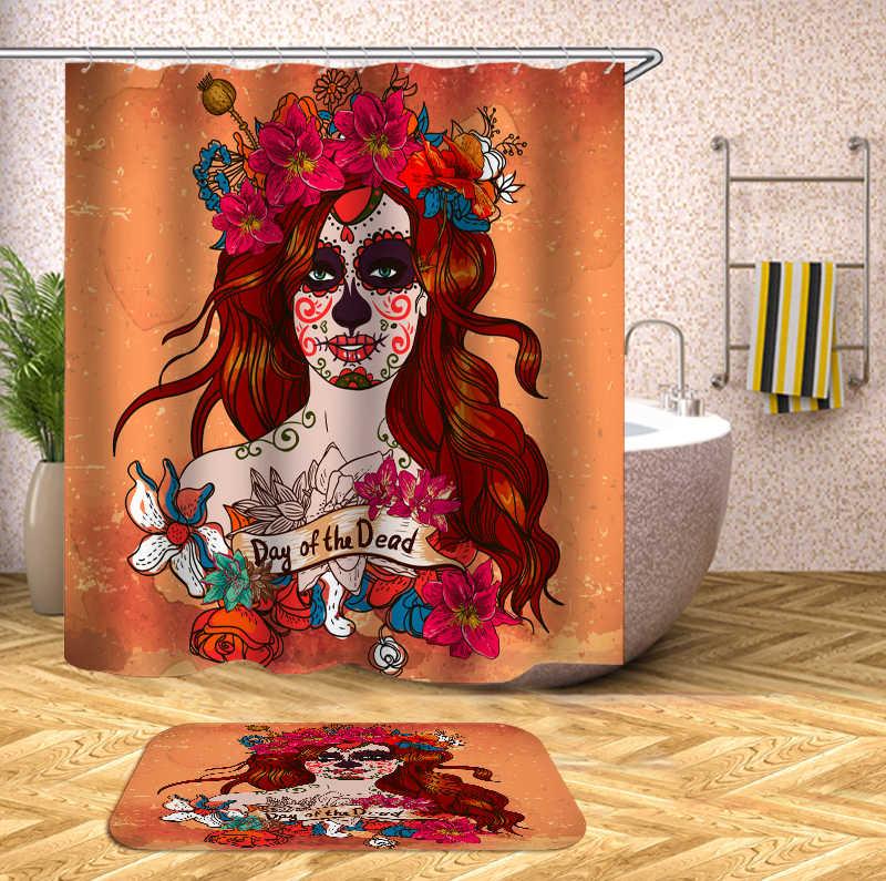 السكر الجمجمة دش الستائر قماش ستائر الحمام دش الستار ثلاثية الأبعاد مضحك دش مقاوم للماء الستار ثلاثية الأبعاد ستارة حمام أو حصيرة
