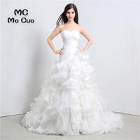Elegant Robe De Mariage 2017 New Arrival Wedding Dresses Sweetheart Organza Ruffles Vestido De Noiva Sweep