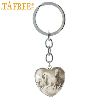 TAFREE trendy zinc alloy heart pendant keychain vintage key ring gothic animal pentium horse key chain jewelry HP721 image