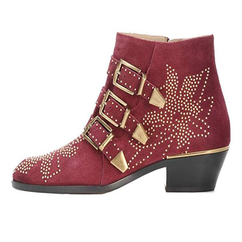 Krazing Pot/ботинки из натуральной кожи; Стильные Теплые ботильоны с круглым носком на среднем каблуке с заклепками и пряжкой в британском стиле;... - 2