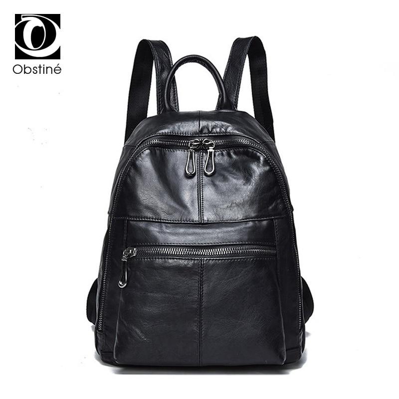 цена на Real Leather Backpack Women Soft Genuine Cowhide Backpacks for Girls Black Luxury Bagpack Woman Casual Ladies Daypack Back Pack