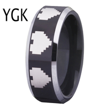 Free Shipping USA UK Canada Russia Brazil Hot Sale 8MM Legend of Zelda 8-Bit Heart Black Silver Bevel Cool Tungsten Wedding Ring