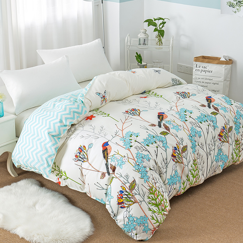 Floral Bird Single Double Duvet Cover 100 Cotton Full Queen King Quilt Cover with Zipper Soft