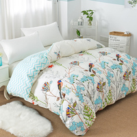 Floral Bird Single Double Duvet Cover 100% Cotton Full Queen King Quilt Cover with Zipper Soft Comforter Cover no Pillowcase