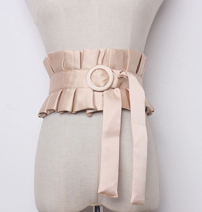 Women's Runway Fashion Wide Pleated Cummerbunds Female Vintage Dress Corsets Waistband Belts Decoration Wide Belt R1262