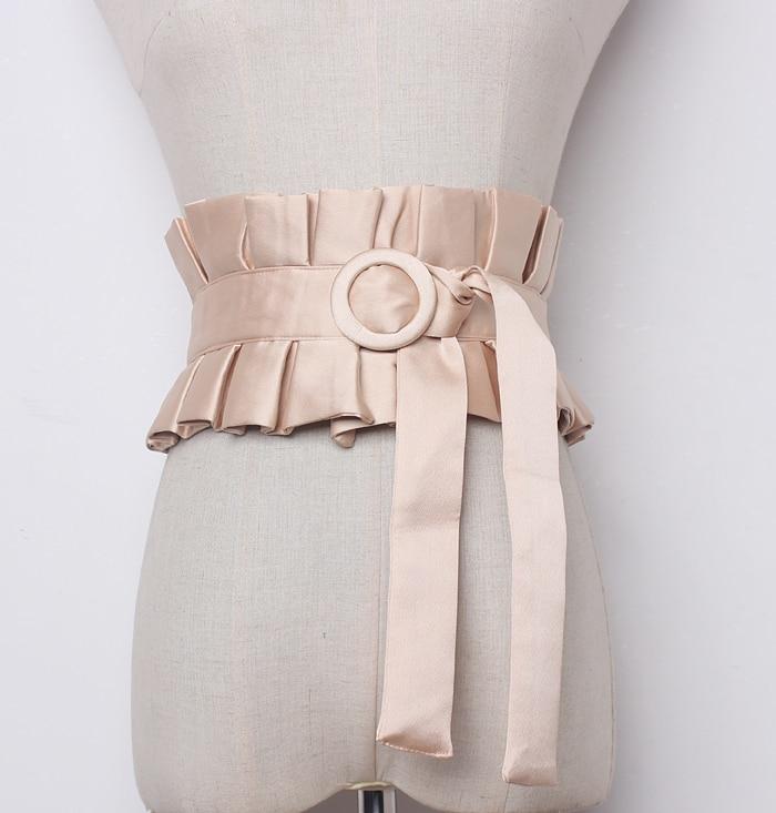 Women's Runway Fashion Wide Pleated Cummerbunds Female Vintage Dress Corsets Waistband Belts Decoration Wide Belt R1262