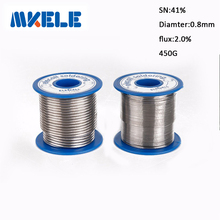 цена на Solder Wire 41SN Pure Tin 0.8mm 450g Rosin Core Tin Lead Rosin Roll Flux Reel Lead Melt Core Soldering Tin Arame de solda