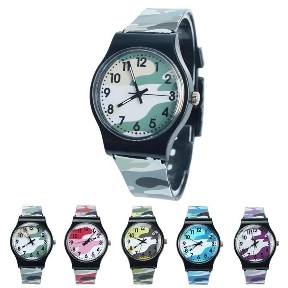 Casual Children Round Dial Plastic Strap Analog Quartz Wrist Watch Gift Use Party Travel Gifts Quartz Watch Camouflage Kid Watch