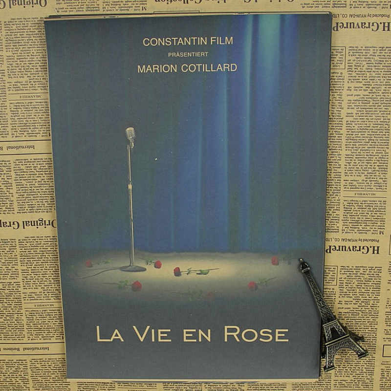 "house decor wall painting about ""Famous movie la vie en rose""caudro art painting for room decorative sticker ID-258"