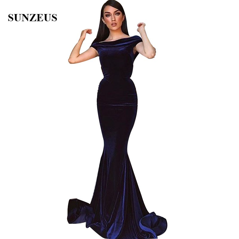 Simple Elegant Blue Velvet   Bridesmaid     Dresses   Mermaid Boat Neck Off Shoulder Long Wedding Party Gowns robe de chambre femme