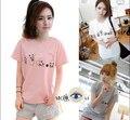 2016 das Mulheres Verão T-Shirt Roupas Camisa O Pescoço Adorável Cats Impresso 3 Cores Curto Tops M-XXL Frete Grátis