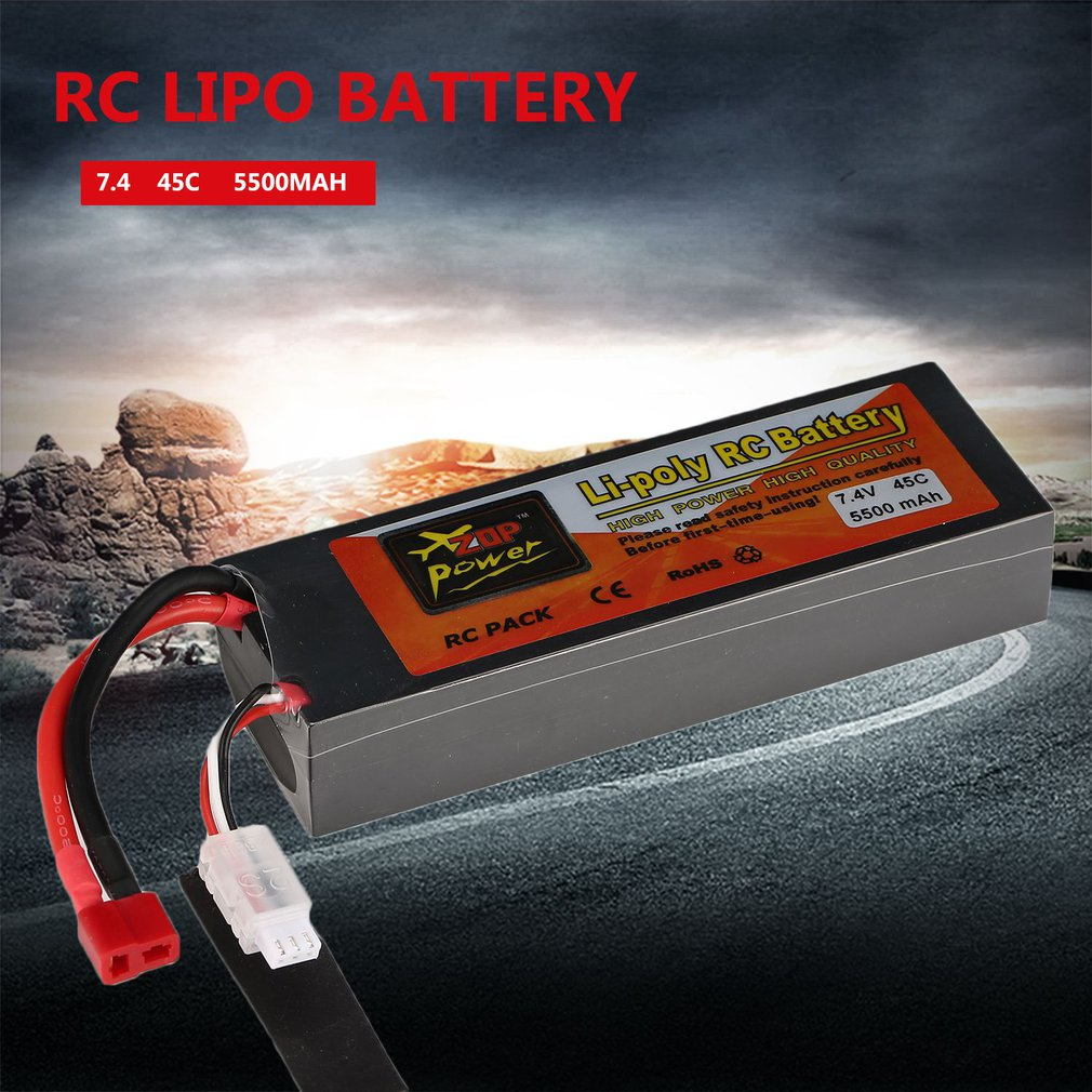 Hot Sale ZOP Power 14.8V 5500mAh 4S 45C Lipo Battery XT60 Plug Connector With Remote Battery Monitor for RC Models Helicopter