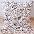 Декоративная Свадебная наволочка для подушки ручной работы крем макраме Бохо наволочка для подушки черный белый бежевый Подушка Индивидуа...