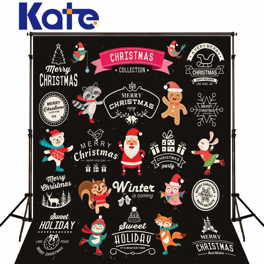Kate Black Background Santa Claus Cute Cartoon Animals For Children Christmas Photography Backdrops inflatable cartoon customized advertising giant christmas inflatable santa claus for christmas outdoor decoration