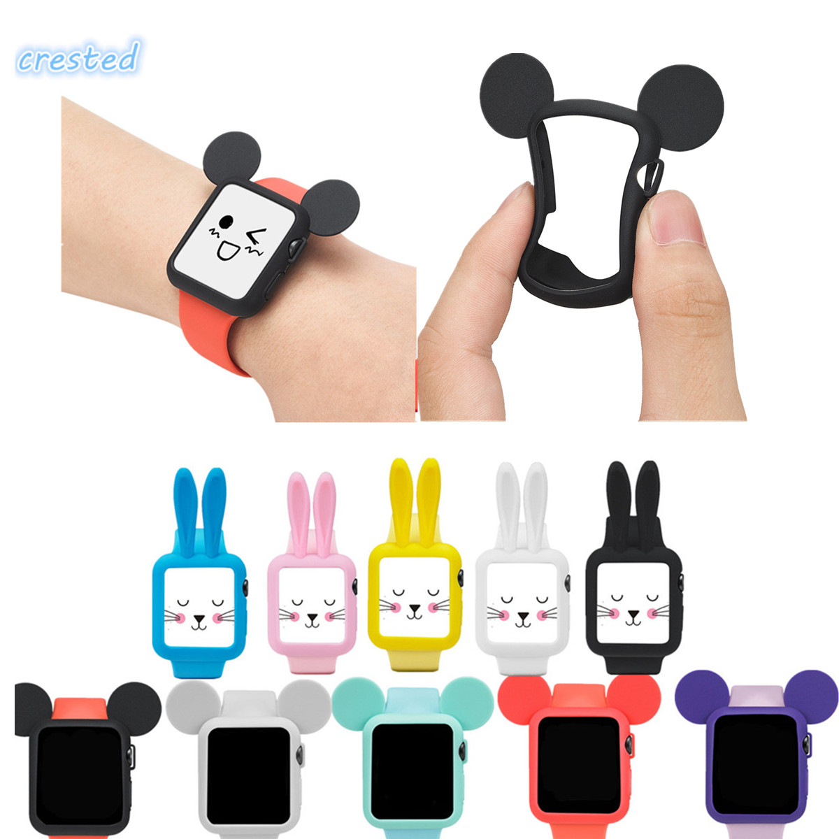 CRESTED sport silicone watch band & protective case for Apple Watch band 42 mm/38 with cartoon Mouse ears case iWatch 1/2 band