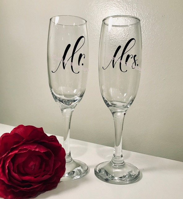 7c2e7563905 18pcs/set Mr. & Mrs.Wine Glasses Sticker wedding Champagne Glasses decal  Newly Weds Toasting cup decor decal Party banquet EB017