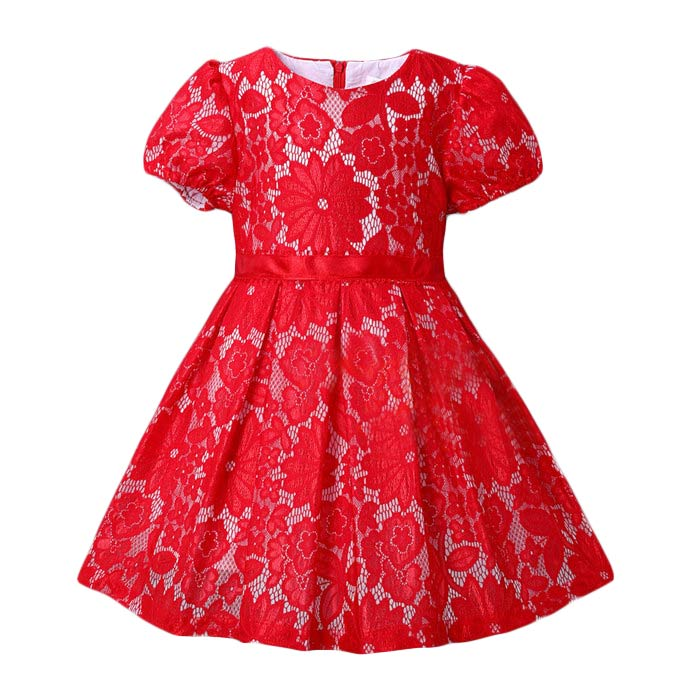 aliexpresscom buy pettigirl girl red lace dresses puff sleeve girls floral princess dress kids 2 8years wear children clothing gd80908 152f from reliable
