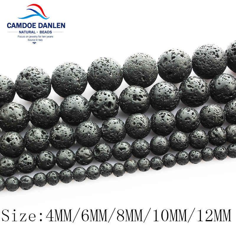 Kamień naturalny czarny lawa kamień wulkaniczny luźne koraliki 4 6 8 10 12 14 16 18MM Fit Diy paciorki na akcesoria do wyrobu biżuterii