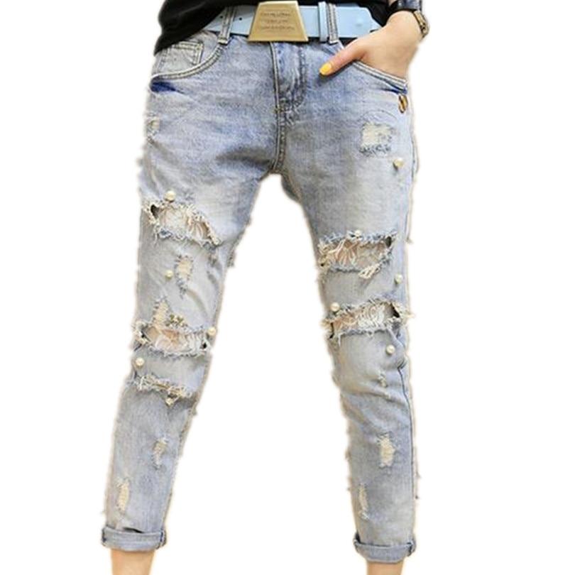 Lace Beading Hole Jeans Women's Harem Pants Female Skinny Jeans Pencil Pants