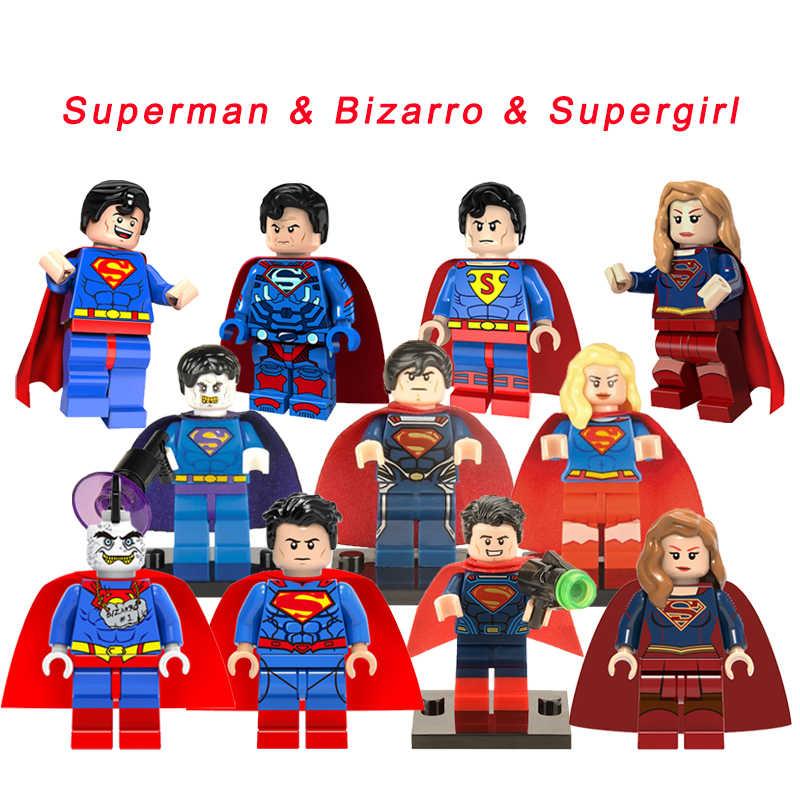 Superhéroes de Superman y Bizarro y Legoelys, figuras clásicas DIY, bloques de construcción, juguetes para niños